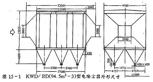 KWD/RD宽间距静电除尘器外形尺寸
