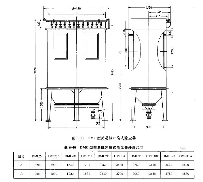 DMC型简易脉冲袋式除尘器外形尺寸