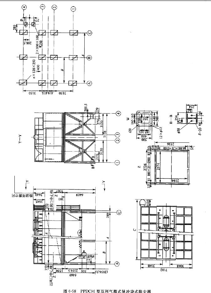 PPDC96型双列气箱式脉冲袋式除尘器