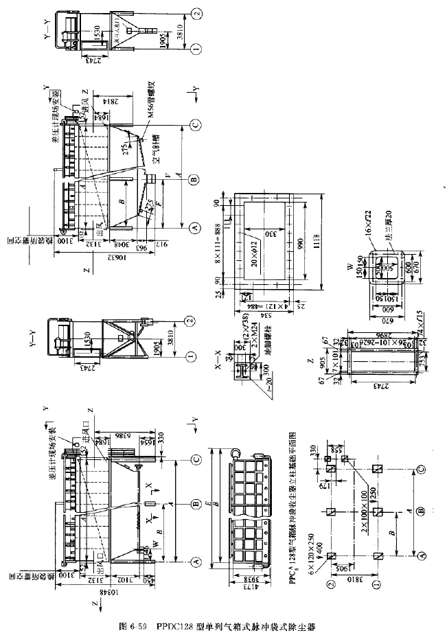 PPDC128型单列气箱式脉冲袋式除尘器