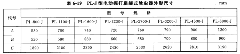 PL*J型电动振打扁维式除尘器外形尺寸